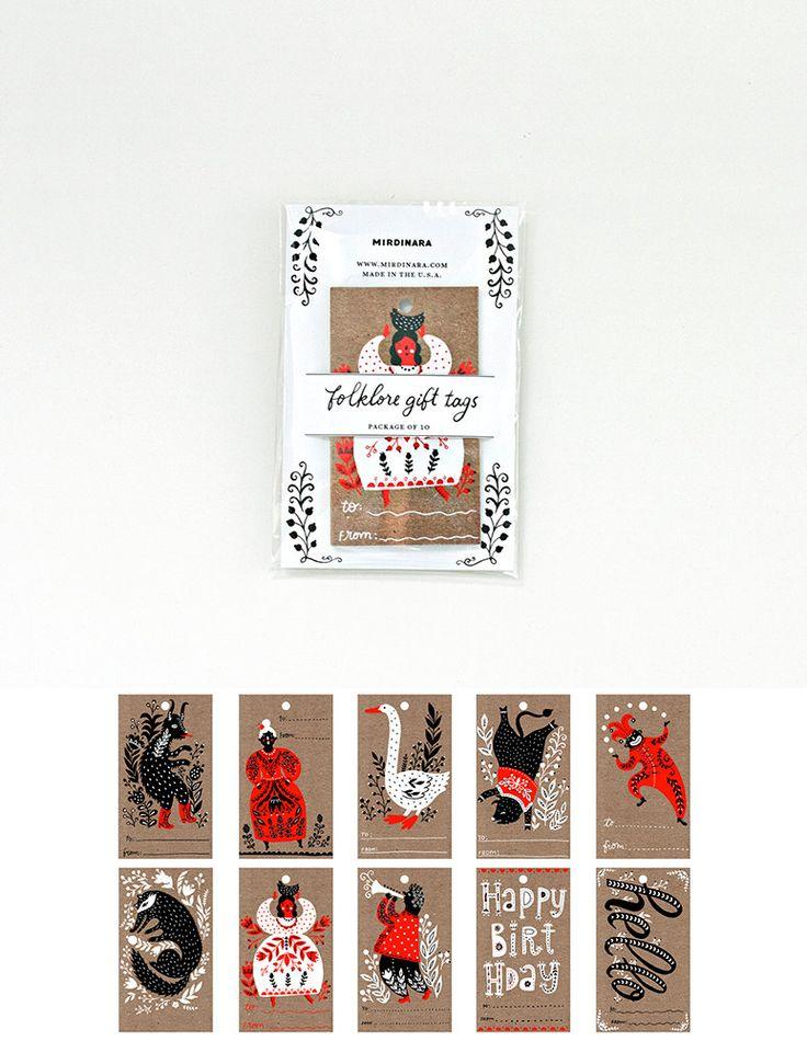 Folklore Gift Tag Set of 10 by MirDinara on Etsy