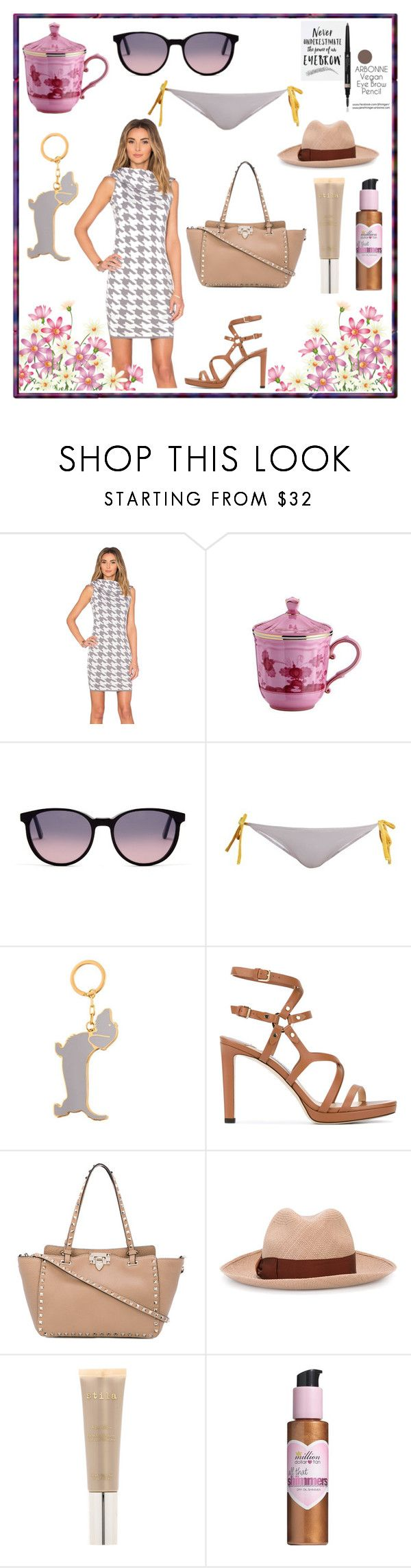 """summer essential"" by kristen-stewart-2989 ❤ liked on Polyvore featuring Elliatt, Richard Ginori, L.G.R, Roxana Salehoun, Thom Browne, Jimmy Choo, Valentino, Borsalino, Stila and Million Dollar Tan"
