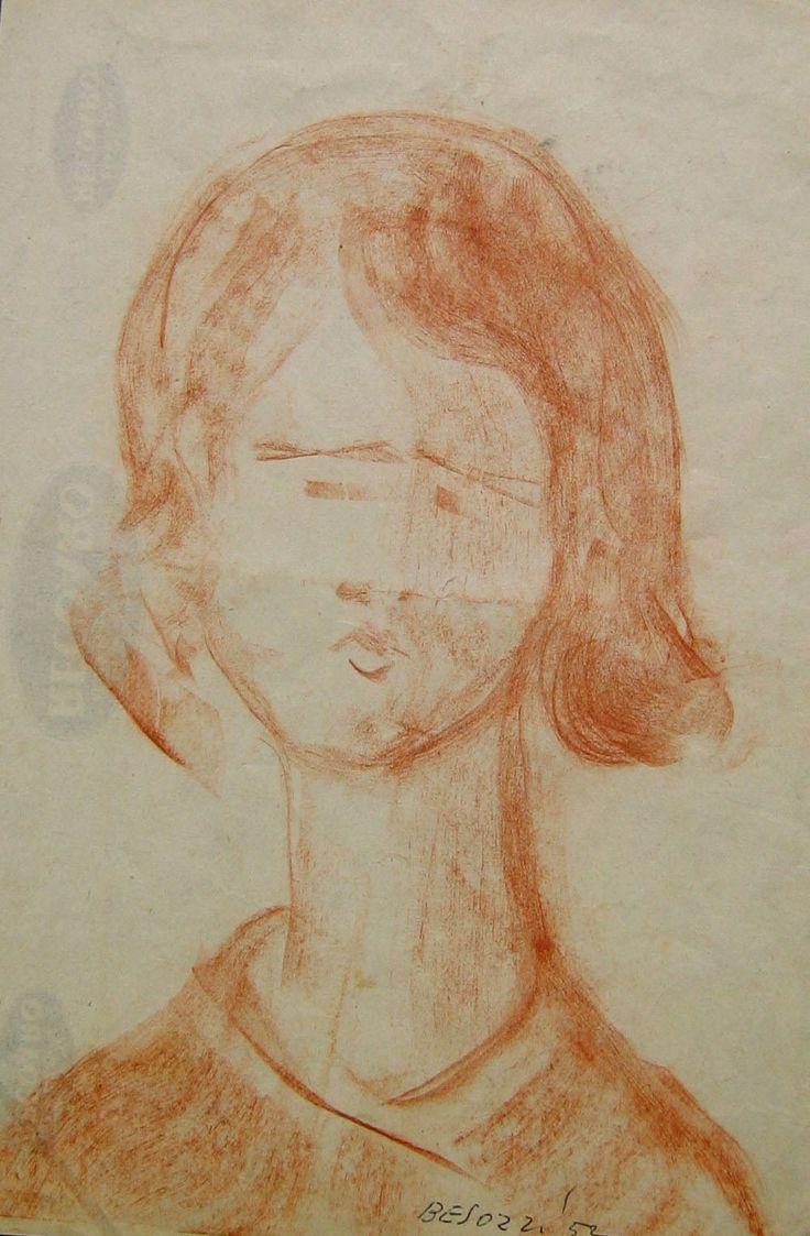 E. Besozzi pitt. 1952 Viso gessetto su carta cm. 24,2x17 arc. 734