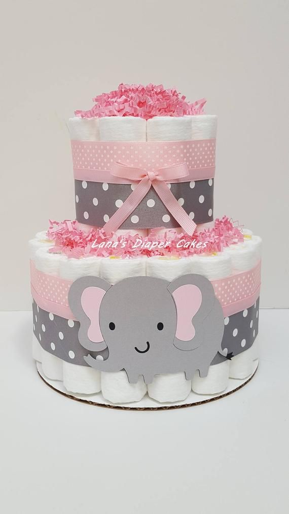 2 Tier Mini Pink Gray Elephant Diaper Cake Baby Girl Etsy