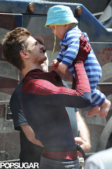 Baby Break | Andrew Garfield held a baby on the set of The Amazing Spider-Man 2 in NYC.
