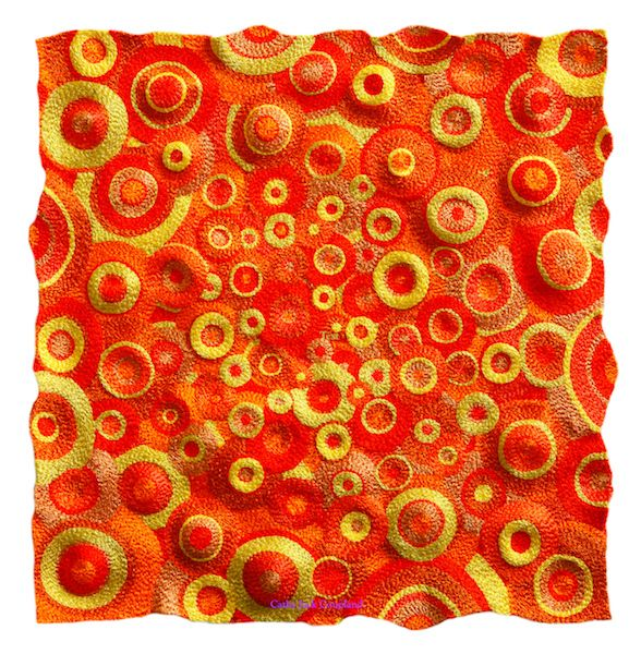 Orange Marmalade 2016.  Free machine embroidered art quilt mounted onto stretched canvas.