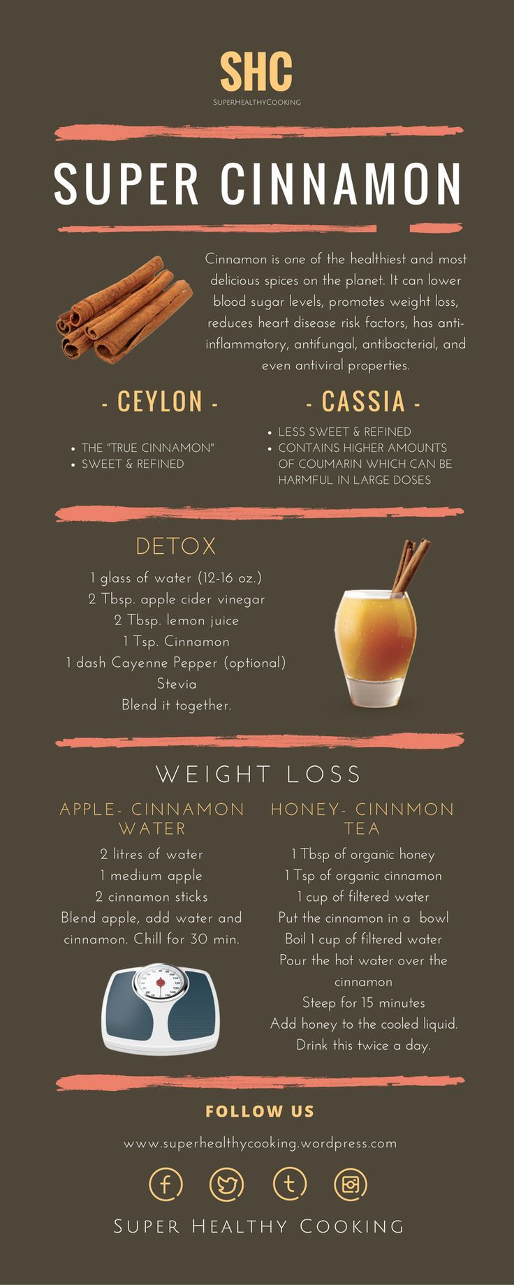 Super Cinnamon - Super Healthy Cooking - Health Benefits of Cinnamon: cinnamon, health benefits, healthy, herb, ceylon, cassia, detox, weight loss, infographic