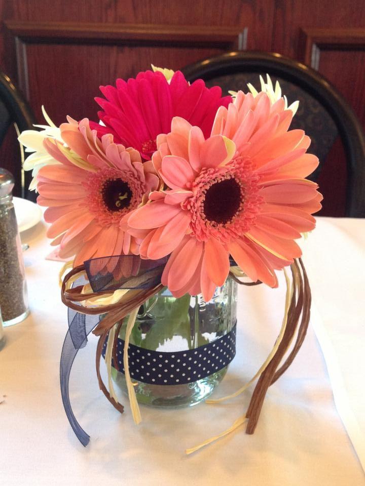 Gerbera daisy mason jar centerpieces