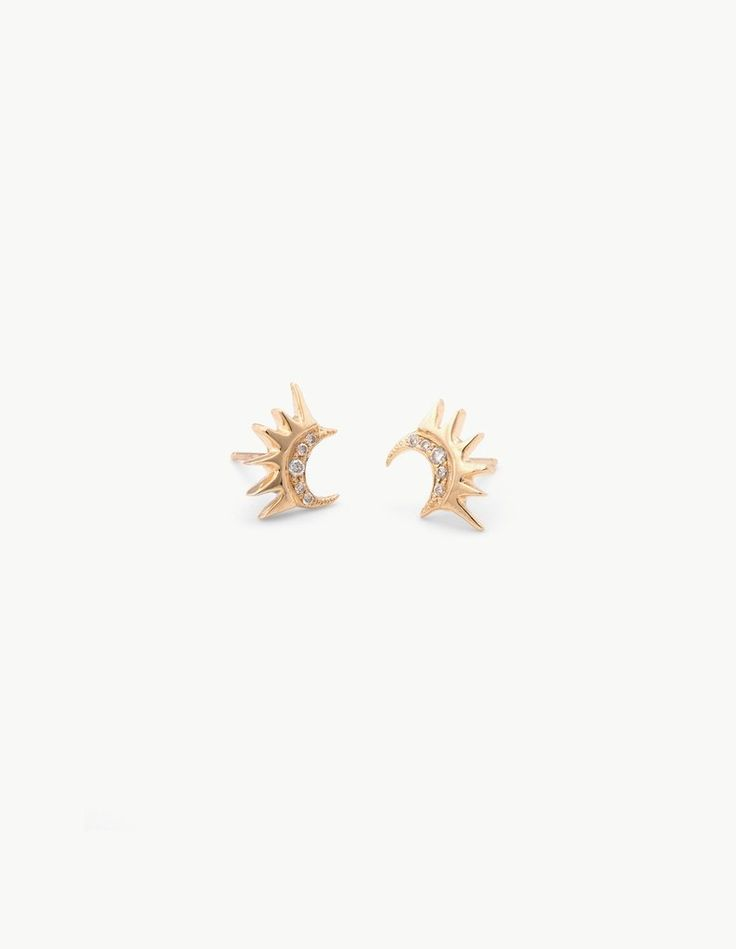 Crescent Studs with Pave