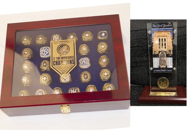 New York Yankees 27 Ring with Box Bronx Bombers Set and Highland Mint 27 Champions Ticket