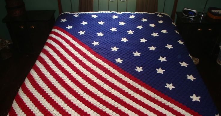 Sarah's Bits and Pieces Crochet: Stars and Stripes Corner to Corner afghan