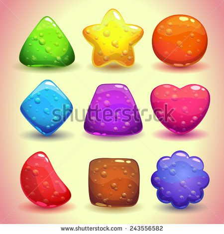 Set of bright jelly figures with bubbles, colorful game elements - stock vector