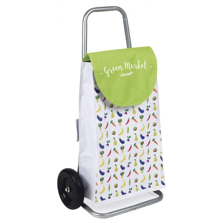A partir de 3 ans.  Le  chariot de courses Green Market  de Janod vous attend pour faire le marché ! Assorti aux couleurs de l'épicerie Green Market, votre enfant va pouvoir faire les courses comme les grands avec ce chariot à roulette !...