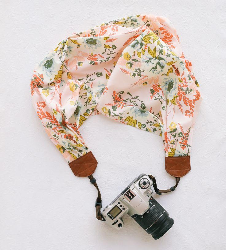 Pink Floral Scarf Camera Strap