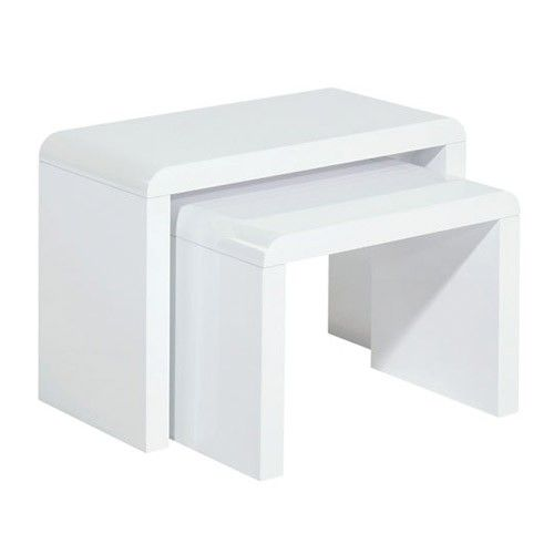 Set of 2 - Nordic Nest Tables - White - Milan Direct