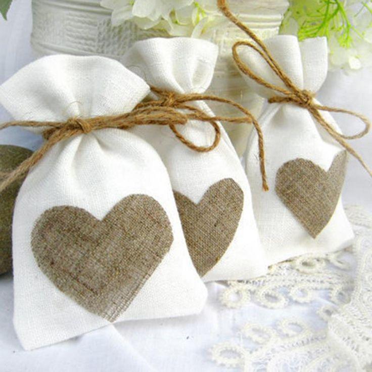 White Natural Linen Drawstring Wedding Favor Bags Set Of 12