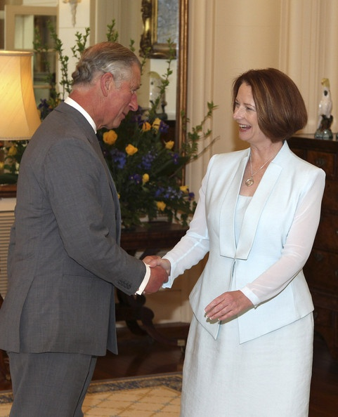 Charles meeting Prime Minister Julia Gillard at Government House, Canberra, Australia 10 Nov 2012   (Source: Pool/Getty Images AsiaPac)