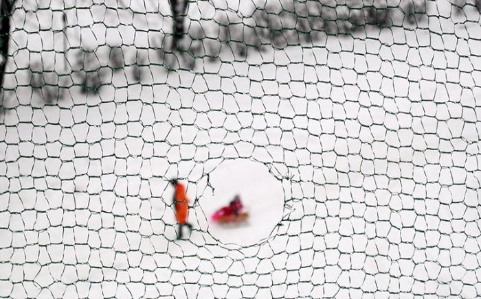 In pictures: Layer: severe winter weather   Daniela Miernik : 'I took this picture of severe winter weather through a layer of torn anti-pigeon netting, a common feature on balconies in pigeon-raided Krakow, Poland.'