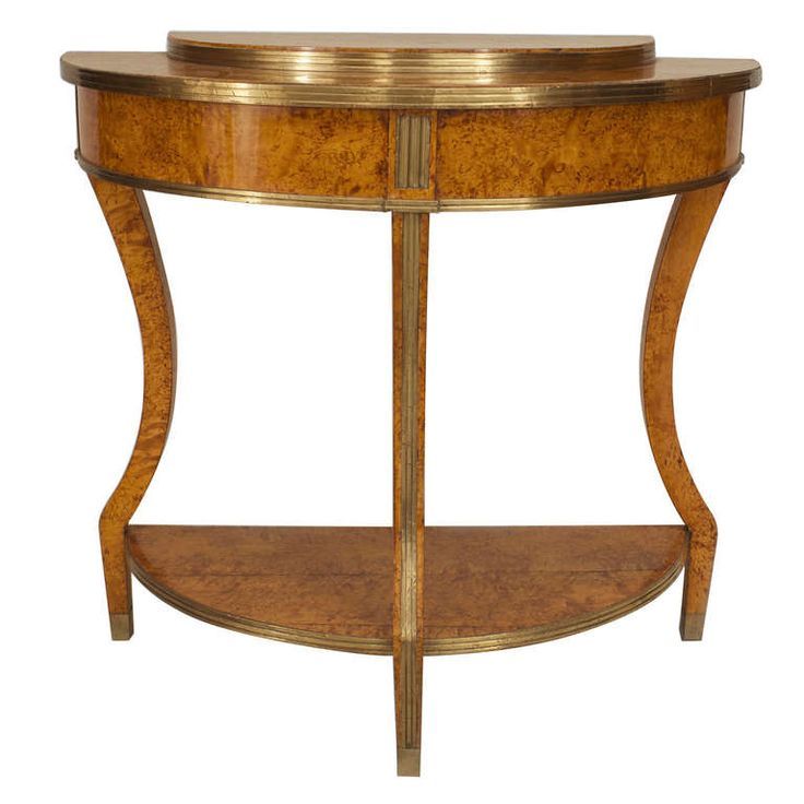 Early 19th c. Russian Brass Mounted Karelian Birch Demilune | From a unique collection of antique and modern console tables at https://www.1stdibs.com/furniture/tables/console-tables/