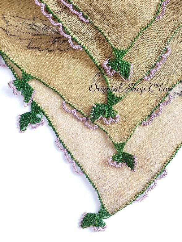 画像4: ブルサ|木版アンティークオヤスカーフ・シルク糸イーネオヤ・細かい|BR12