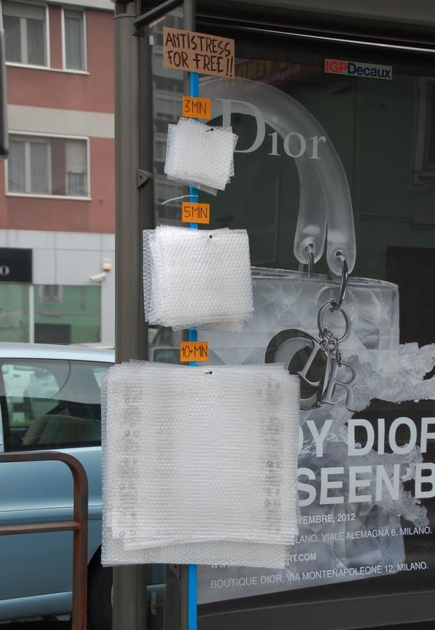 Bubble wrap at a bus stop- genius!