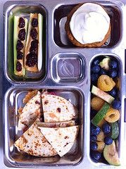 Turkey, Cranberry Quesadilla, Pumpkin Muffin w/ Cream Cheese Icing, guava, berries & Bugs on a LogCream Cheese