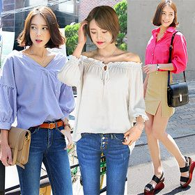 Gmarket - DARLLY Blouse collection / button up shirt / striped...