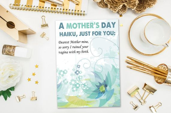 Mother's Day Cards / Funny Mother's Day Card / Haiku / Naughty Card, Ruined Vagina / Mothers Day / Printed Card
