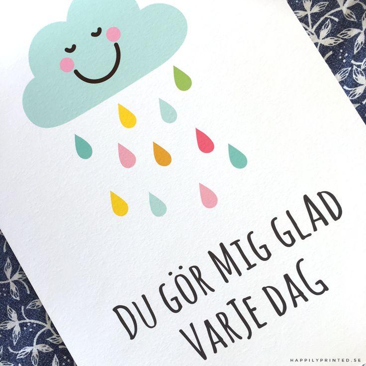 """Tavla för barn med glatt moln med färgglada droppar. Text """"Du gör mig glad varje dag"""". Fin som väggdekor i barnrum"""