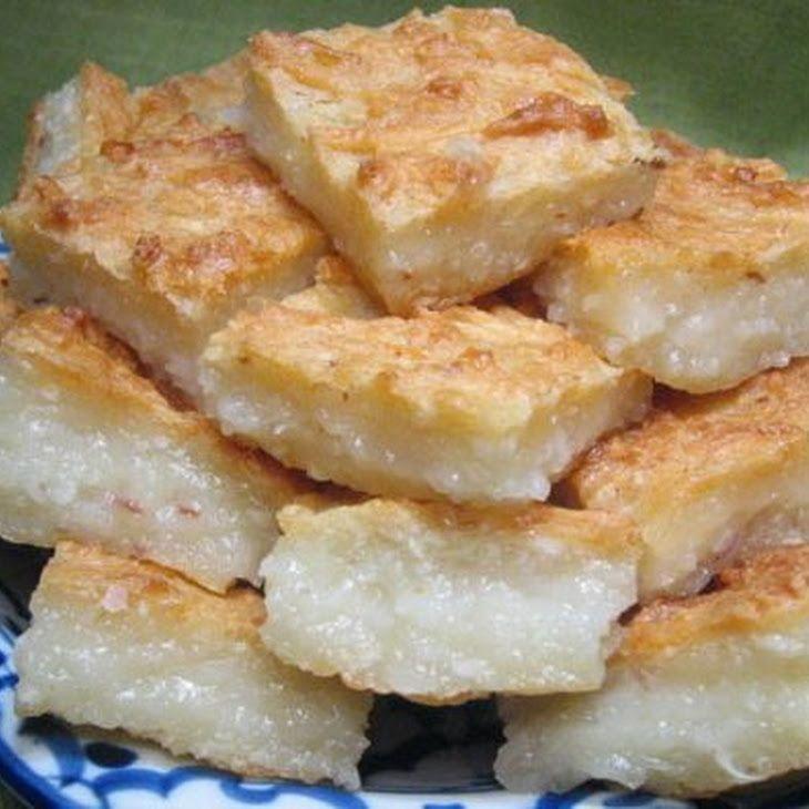 Khanom Ba-Bin (Coconut Cake) Recipe Desserts with coconut meat, palm sugar, glutinous rice flour, rice flour, coconut cream, vegetable oil
