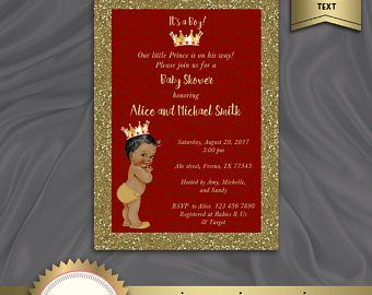 Royal Baby Shower Invitation, Little Prince, Prince Baby Boy, Red, Gold, DOWNLOAD Instantly, EDITABLE TEXT - Microsoft® Word Format