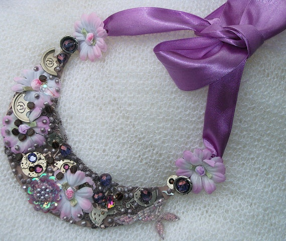Steampunk Statement NecklacePurple Spring by picsoflive on Etsy, $43.00