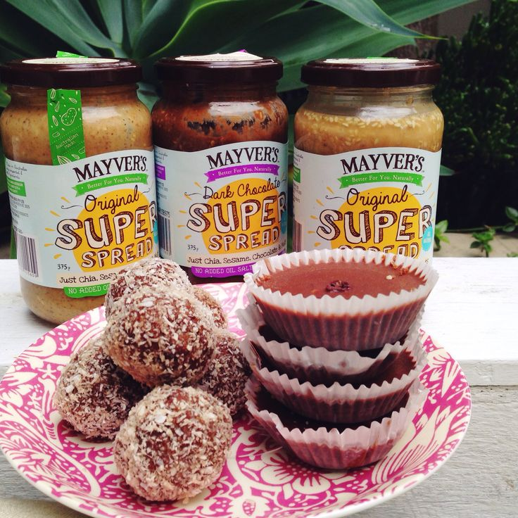 Ingredients 1 cup almonds 3/4 cup medjool dates 2 tbs coconut oil, melted 2tbs Mayver's Original Super Spread 2tbs chia seeds Method Place all ingredients in a food processor and blend until smooth Roll into balls and coat with coconut Store in fridge Enjoy