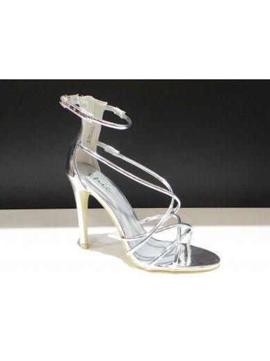 Metallic Strappy Heels - Silver
