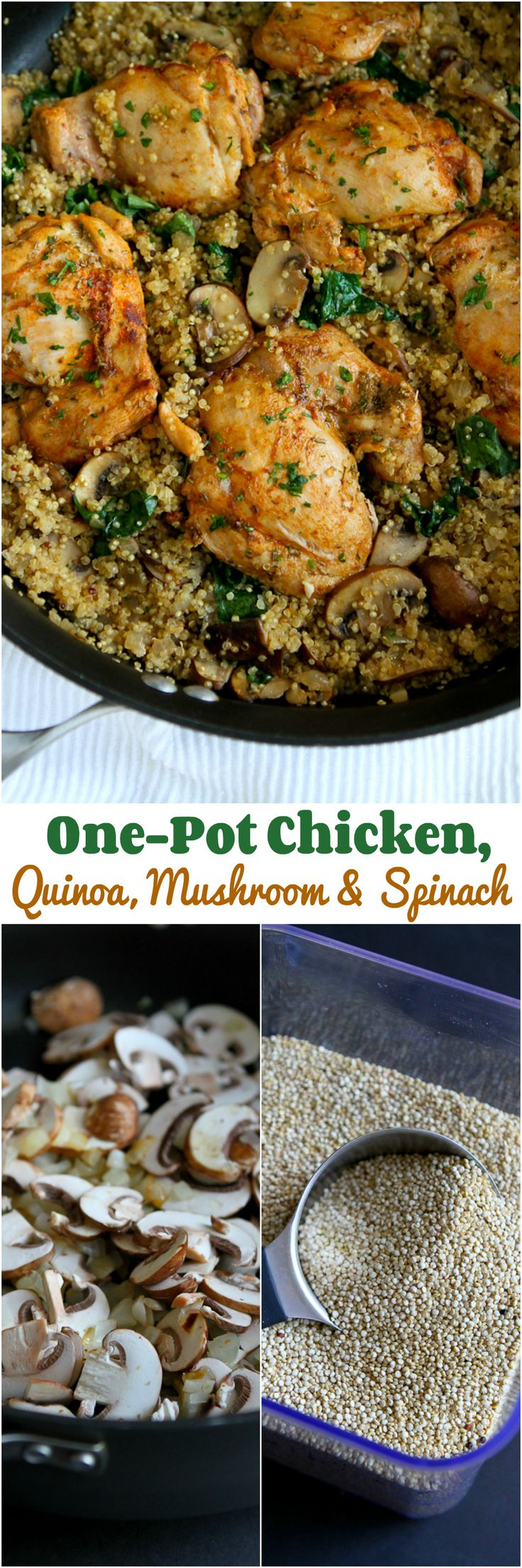 One-Pot Chicken, Quinoa, Mushrooms and Spinach recipe...Healthy dinner, quick clean-up! 256 calories and 6 Weight Watchers SmartPoints
