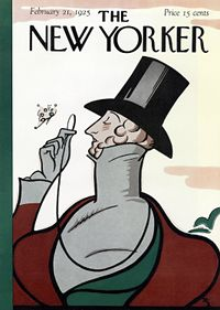 New Yorker cover. First issue's cover with dandy Eustace Tilley, created by Rea Irvin. The image, or a variation of it, appears on the cover of The New Yorker with every anniversary issue.