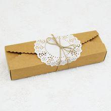 30 ШТ. Коричневый Долго Крафт-Бумажные Коробки Макарон Упаковка Подарочная…