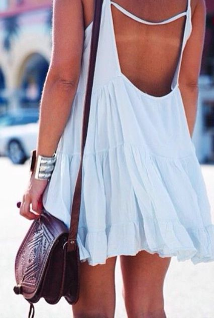 White Plain Pleated Condole Belt Ruffle Backless Sexy Casual Cotton Mini Dress