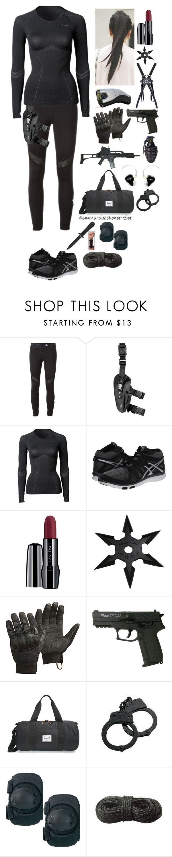 """""""S.H.I.E.L.D. agent #9"""" by emma-directioner-r5er ❤ liked on Polyvore featuring adidas, ODLO, Asics, Lancôme, CamelBak, Herschel Supply Co., 5.11 Tactical and Swat"""