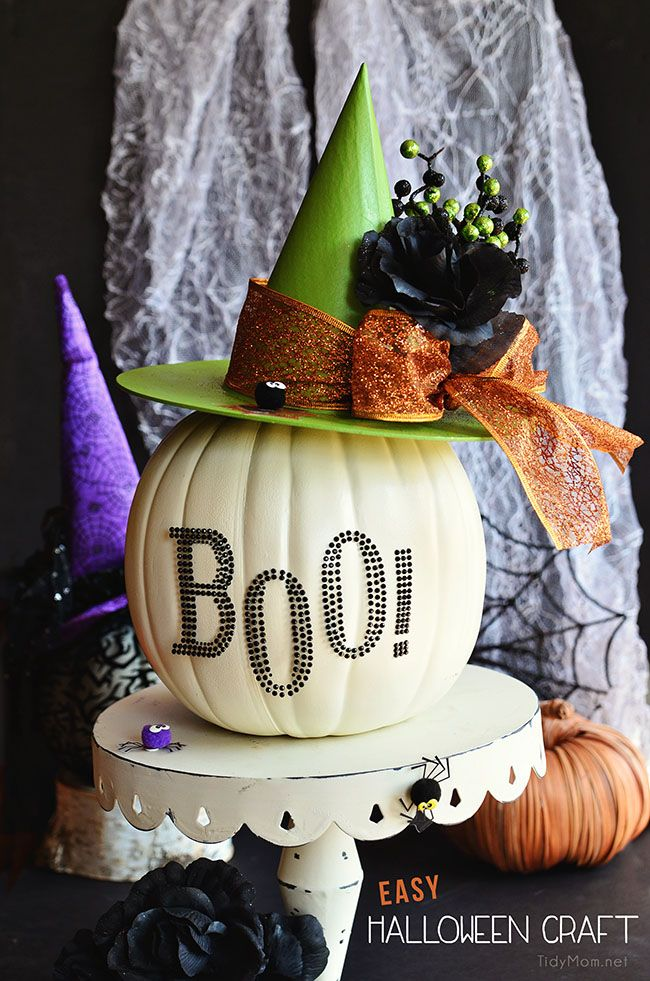 Make your pumpkins stand out this year by topping them off with this cute witch hat. TidyMom shares what you need and how to craft this super easy Halloween home décor hat.