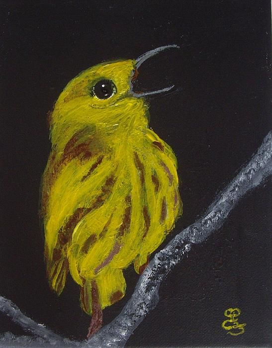 Yellow Bird, acrylics on canvas board, based on a photograph by Rodney Campbell