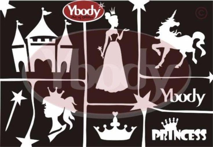 Ein süßes Glitzer Tattoo Schablonen Set für alle kleinen Prinzessinnen. Die Prinzessinnenmotive für Kindertattoos sind ein Traum für alle Mädchen! Alle abgebildeten Tattoomotive sind 1x im Set enthalten und werden auf einer Din-A5 Folie geliefert. Auch der Stern in der Mitte ist als Schablone für Glitzer Tattoos verwendebar. Die Größen der Prinzessinnenmotive für Glitzer Tattoos variieren zwischen 2 cm und 6,5 cm.YBody Schablonen sind selbstklebend und bestehen aus drei Folien. Einfach die…