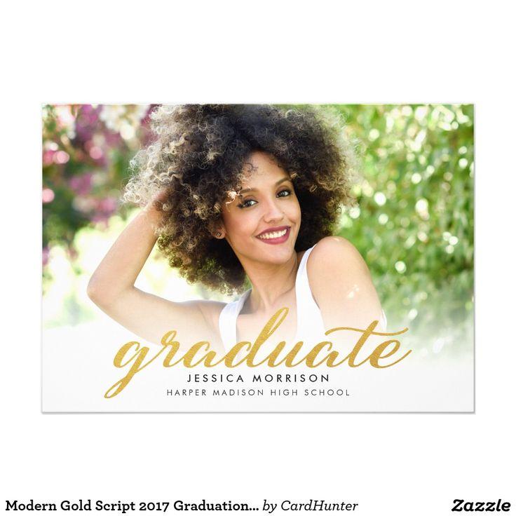 207 best graduation announcements invitations images by weddingcharm modern gold script 2017 graduation announcement and invitation card filmwisefo