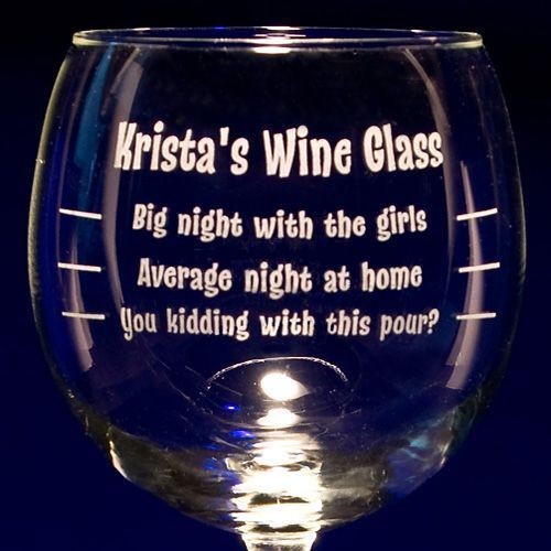 Personalized Balloon Wine Glass - Custom Engraved Etching
