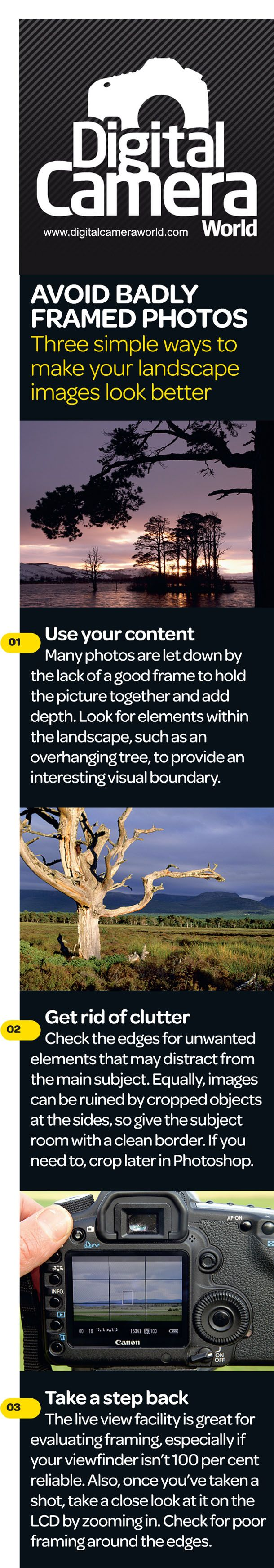 Landscape photography: cheat sheet for learning how to avoid badly frame landscape photos.
