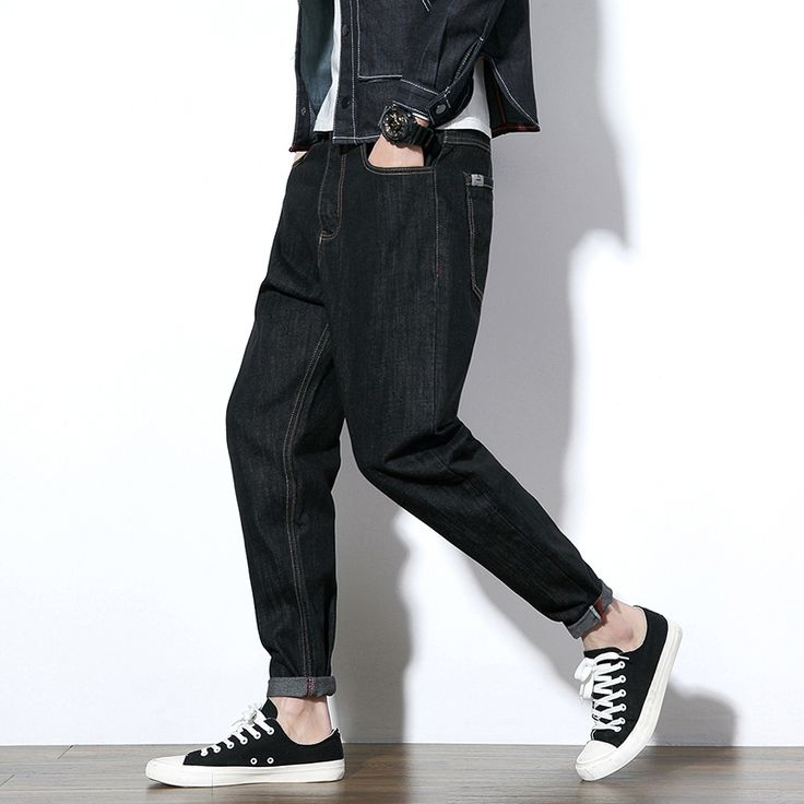 New men's spring fashion leather jeans male plus size male harem pants trousers free shipping