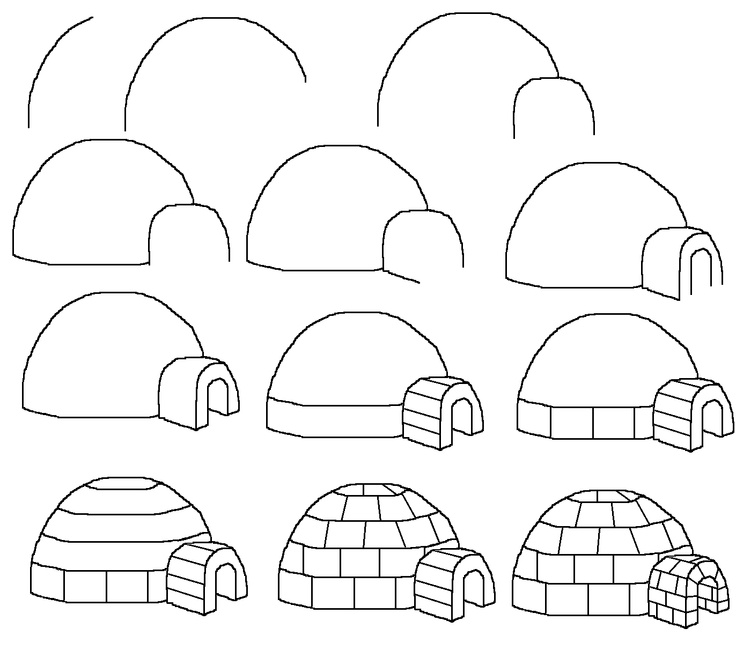 How To Draw A Cartoon Igloo. Easy Free Step by Step Drawing Tutorial For Kids