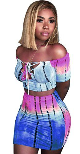 264249959ac1 Womens Sexy 2 Pieces Tie-dye Printed Lace up Crop Tops Bodycon Skirts Party  Clubwear