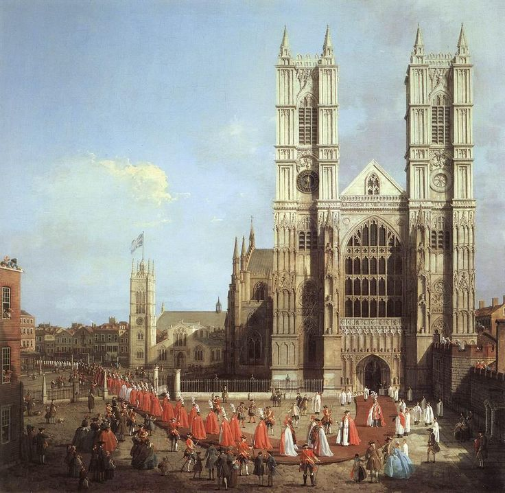 Westminster Abbey, with a Procession of Knights of the Bath - Canaletto - WikiPaintings.org