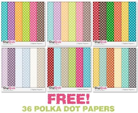 Freebie! 36 Polka Dot Digital Papers #digiscrap