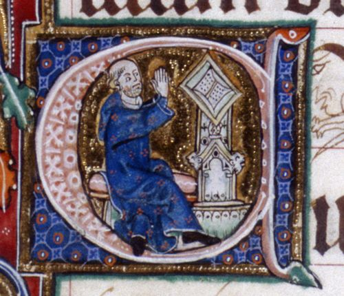 A bearded layman makes a number of appearances throughout the manuscript, usually in attitudes of religious devotion (see, for example, f. 10r), and these images may represent the original patron.  One  candidate for this position is Roger Bigod, 5th Earl of Norfolk and Marshal of England (c. 1245 – 1306), but more recently it has been suggested that the honours may lie with John de Warenne, 7th Earl of Surrey (1286 – 1347), whose arms can be seen throughout the manuscript.