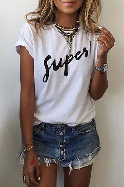 Letter Round Neck Short Sleeves T-Shirt WHITE: Tees | ZAFUL