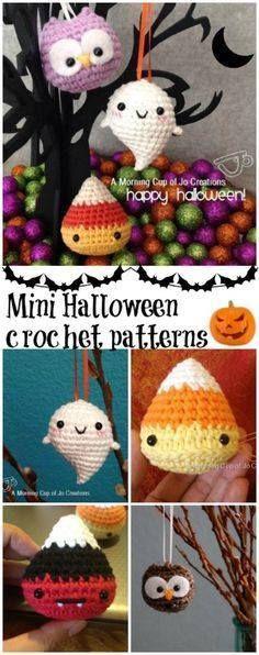 3 free mini Hallowee 3 free mini Halloween crochet patterns....  3 free mini Hallowee 3 free mini Halloween crochet patterns. Candy corn pattern baby ghost pattern and a baby owl. Recipe at http://ift.tt/1hGiZgA