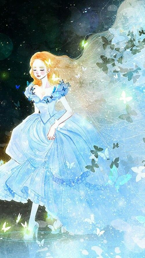 To paint something like this in any color would be beautiful. I would love to see the butterflies in vivid rainbow colors. Cinderella (Ella) fantasy illustration from Cinderella 2015 fairy tale movie